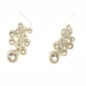 Silvertone Shiny Multi-Bead Dangle Earrings